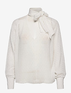 Lynn Bow Blouse - long sleeved blouses - off white