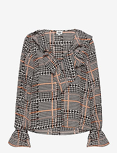 Doris Blouse - langærmede bluser - graphic dogdstooth