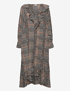 Demi Dress - midi kjoler - rust dogstooth