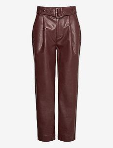 Aria Trousers - pantalons en cuir - reddish brown