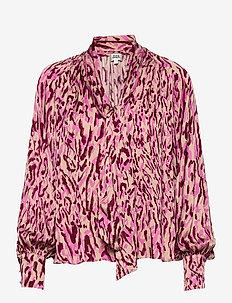 Lynda Blouse - bluzki z długimi rękawami - safari pink print