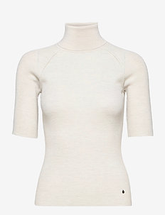 Isla Turtleneck - stickade toppar & t-shirts - unbleached