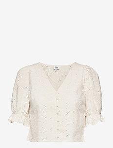 Malin Blouse - kortärmade blusar - whispy white