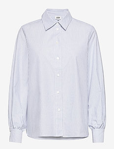 Sophie Stripe Shirt - long-sleeved shirts - ice blue stripe