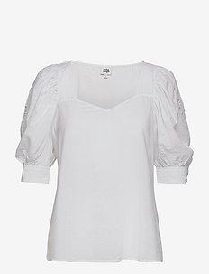 Vilina Blouse - kortärmade blusar - whispy white