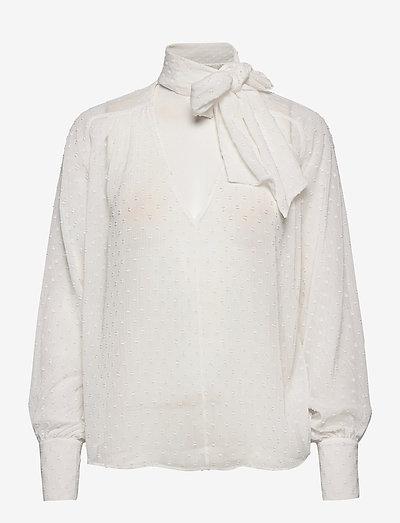 Lynn Bow Blouse - langærmede bluser - off white