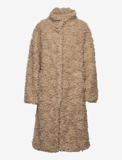 Mara Faux Fur Coat - fake fur - lt taupe