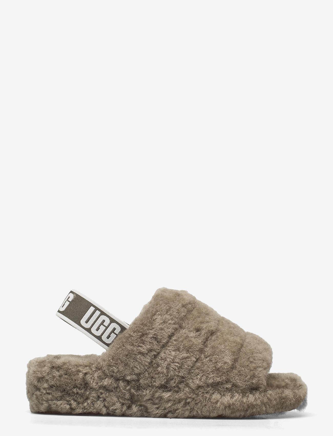 UGG - W Fluff Yeah Slide - platte sandalen - burnt olive - 1