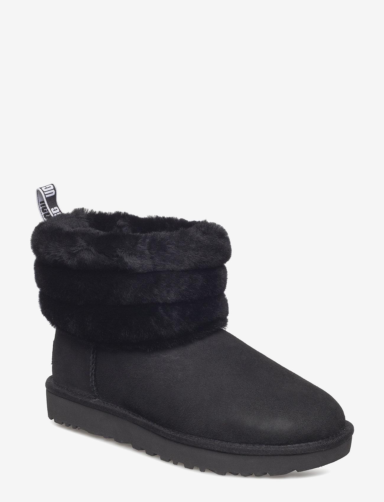 UGG - W Fluff Mini Quilted - flade ankelstøvler - black - 0