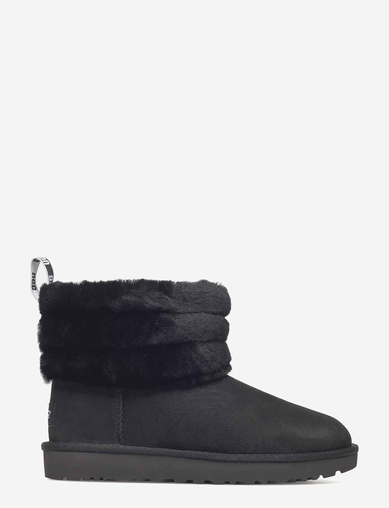 UGG - W Fluff Mini Quilted - flade ankelstøvler - black - 1