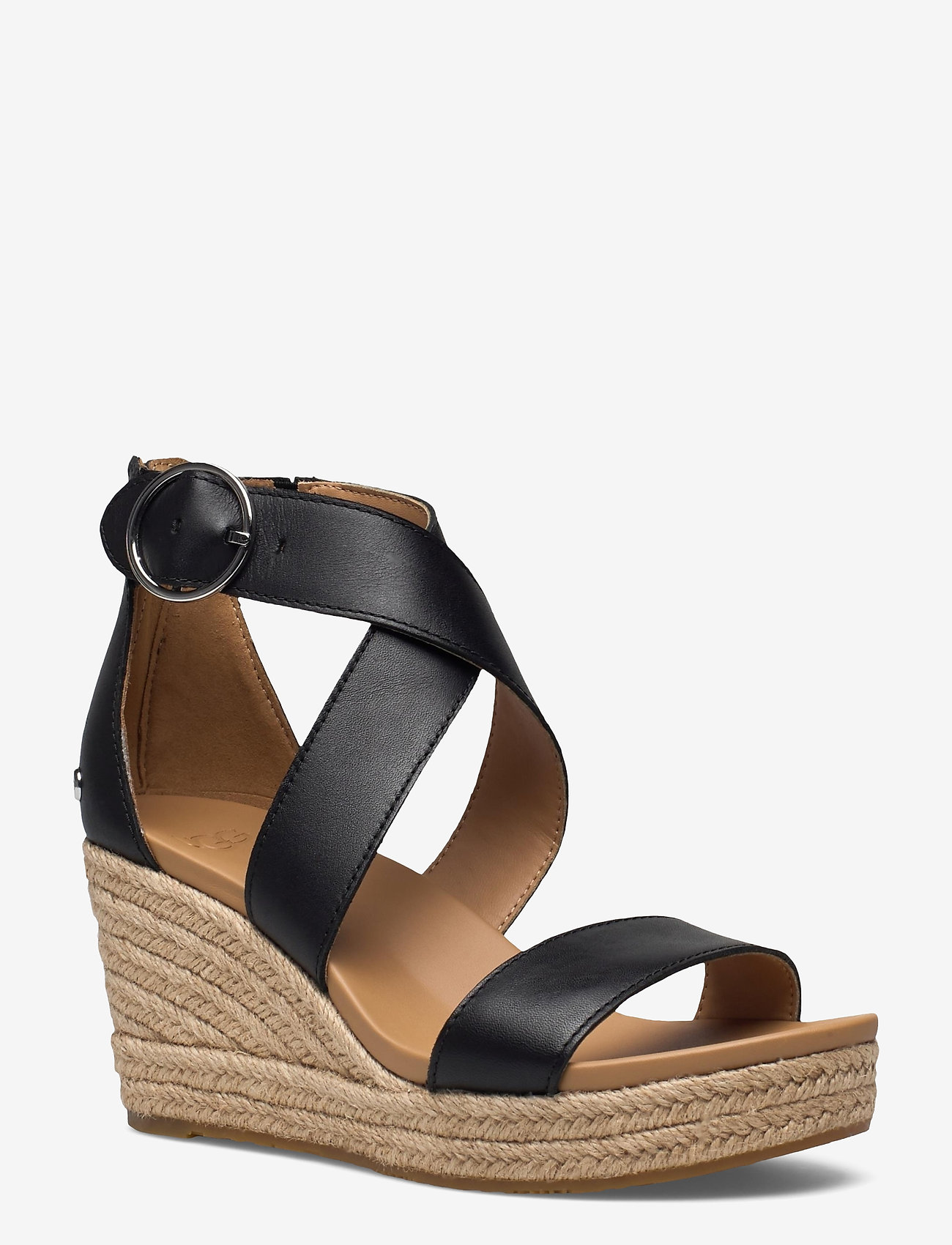 UGG - W Hylda - højhælede espadrillos - black leather - 0