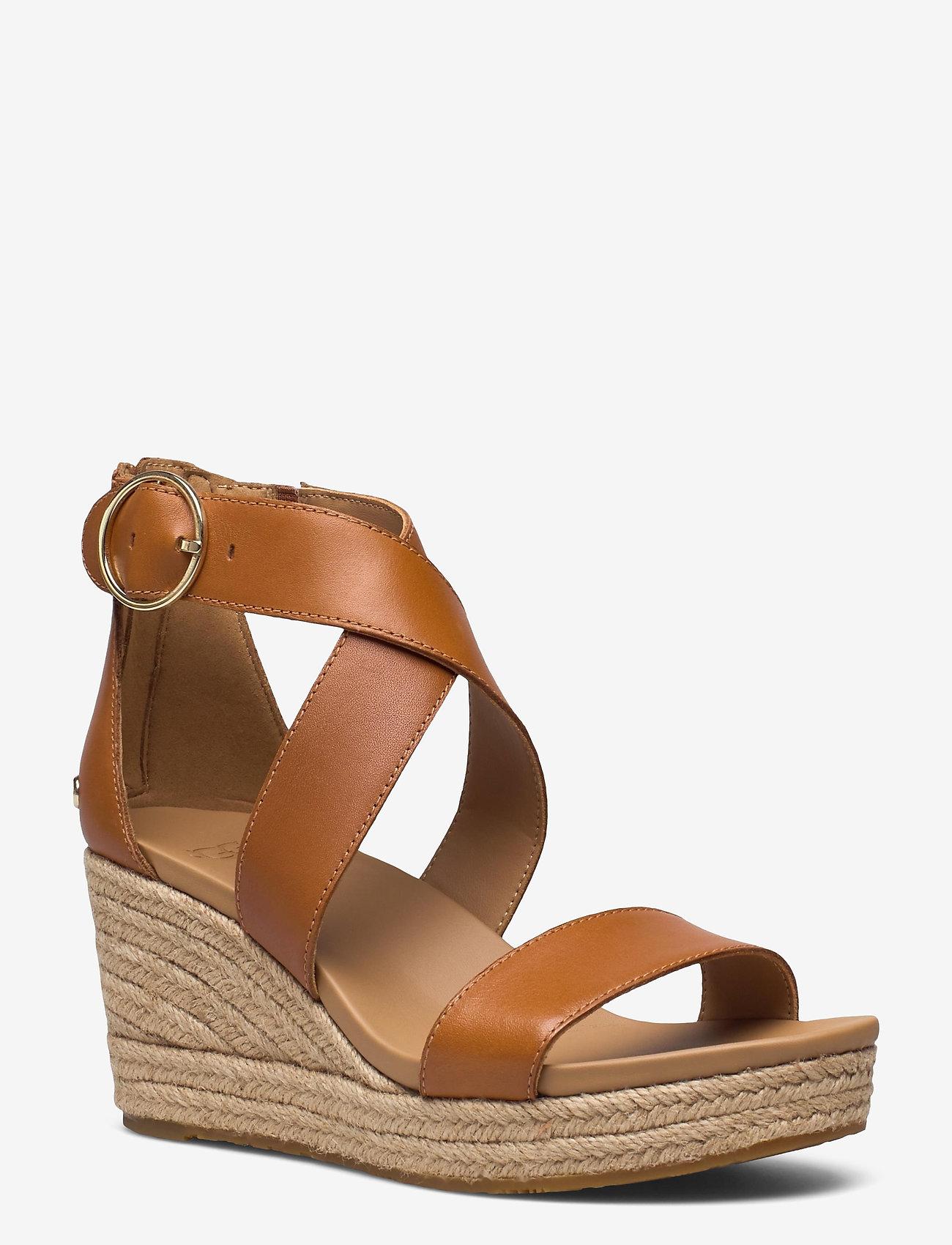 UGG - W Hylda - højhælede espadrillos - tan leather - 1