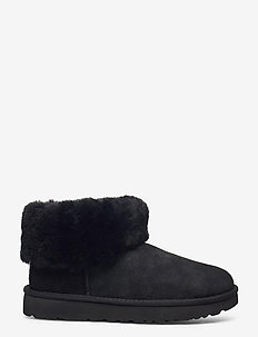 W Classic Mini Fluff - flat ankle boots - black