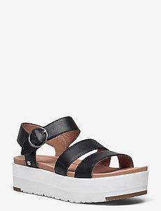 W Leedah - platte sandalen - black lth