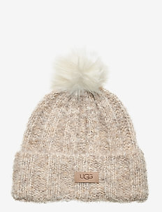 W BOUCLE KNIT HAT WP - beanies - oatmeal