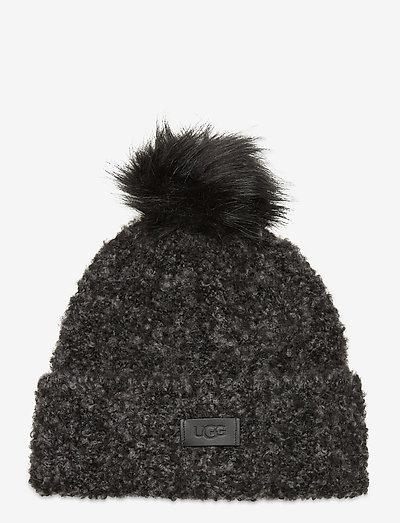W BOUCLE KNIT HAT WP - huer - black