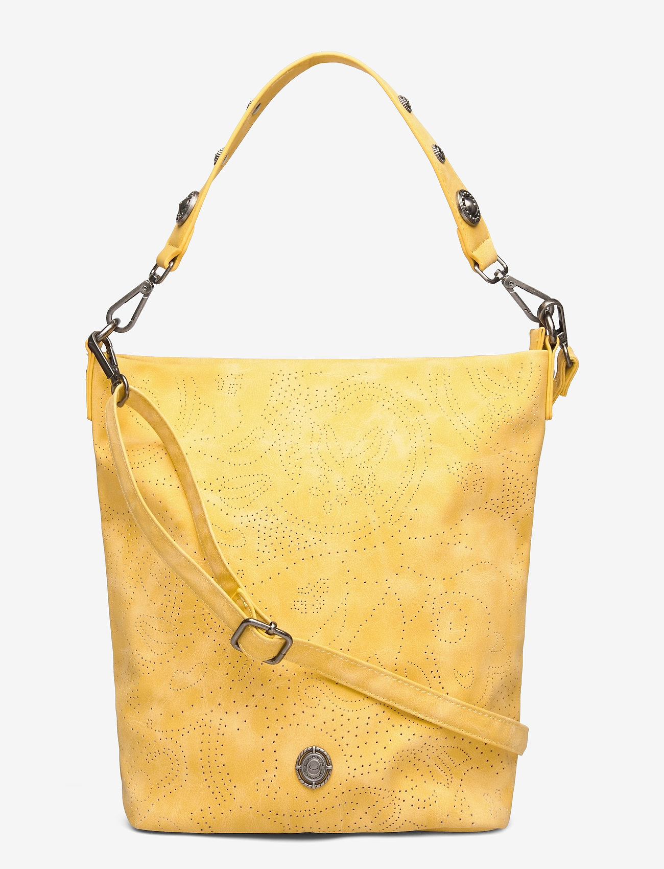 Ulrika - Perforated Shoulder Bag - bucket bags - yellow - 0