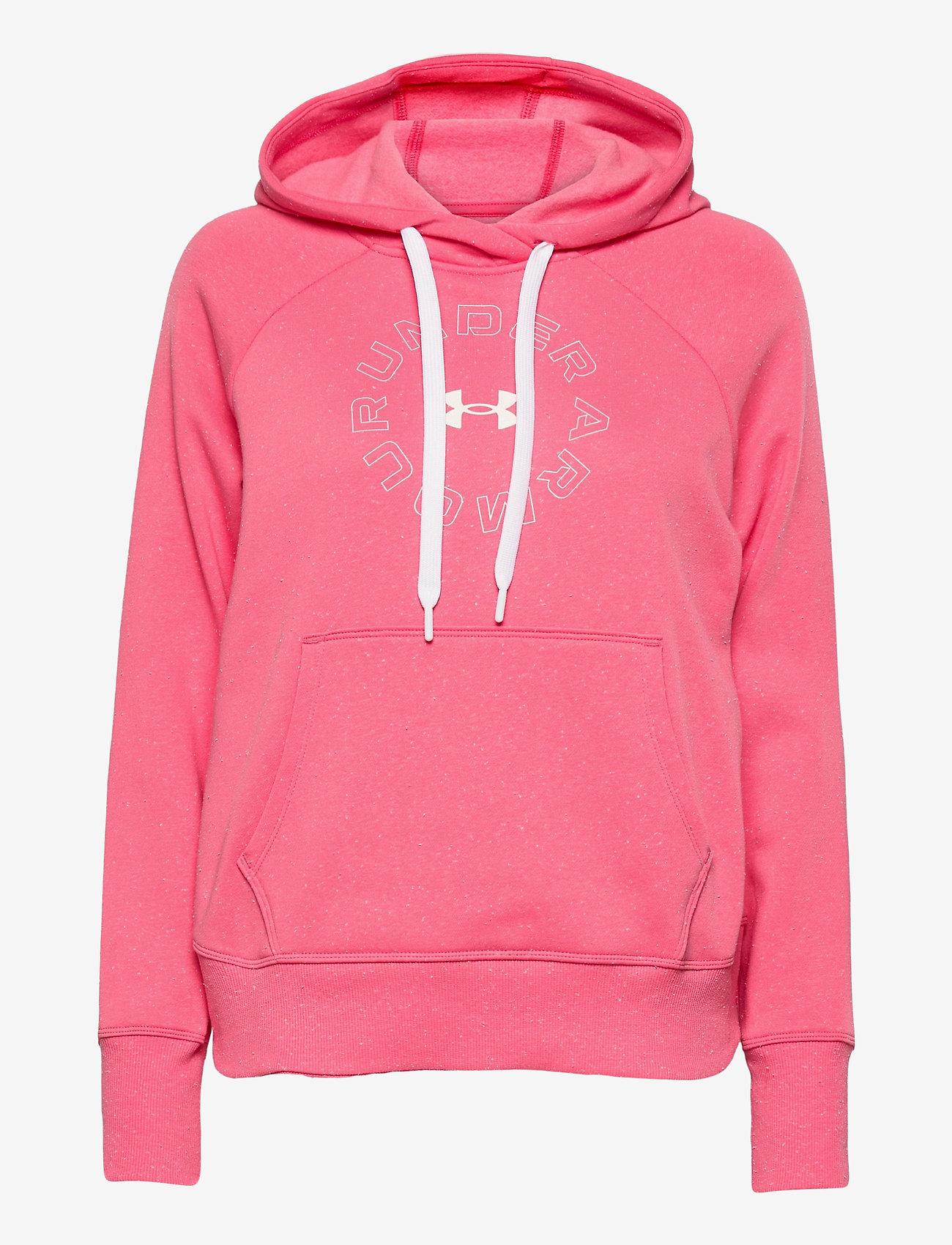 Under Armour - Rival Fleece Metallic Hoodie - huvtröjor - pink lemonade - 0