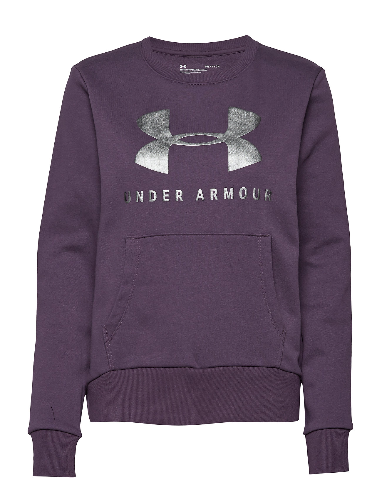 Under Armour 12.1 RIVAL FLEECE SPORTSTYLE GRAPHIC CREW - NOCTURNE PURPLE