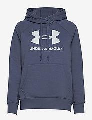 Under Armour - Rival Fleece Logo Hoodie - huvtröjor - mineral blue - 0