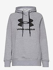 Under Armour - Rival Fleece Logo Hoodie - huvtröjor - steel medium heather - 0