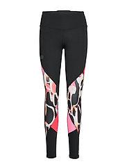 UA Rush Print Color Block Leggings - BLACK