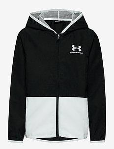 UA Woven Track Jacket - bluzy z kapturem - black