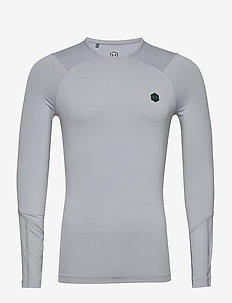 UA HG Rush Compression LS - MOD GRAY LIGHT HEATHER