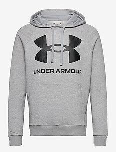 UA Rival Fleece Big Logo HD - huvtröjor - mod gray light heather