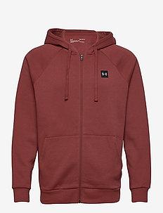 UA Rival Fleece FZ Hoodie - podstawowe bluzy - cinna red
