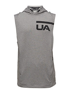 TECH TERRY SLEEVELESS HOODIE - STEEL