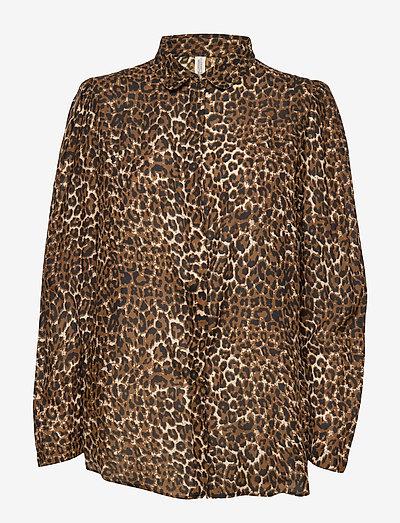 Leonora shirt - bluzki z długimi rękawami - brown