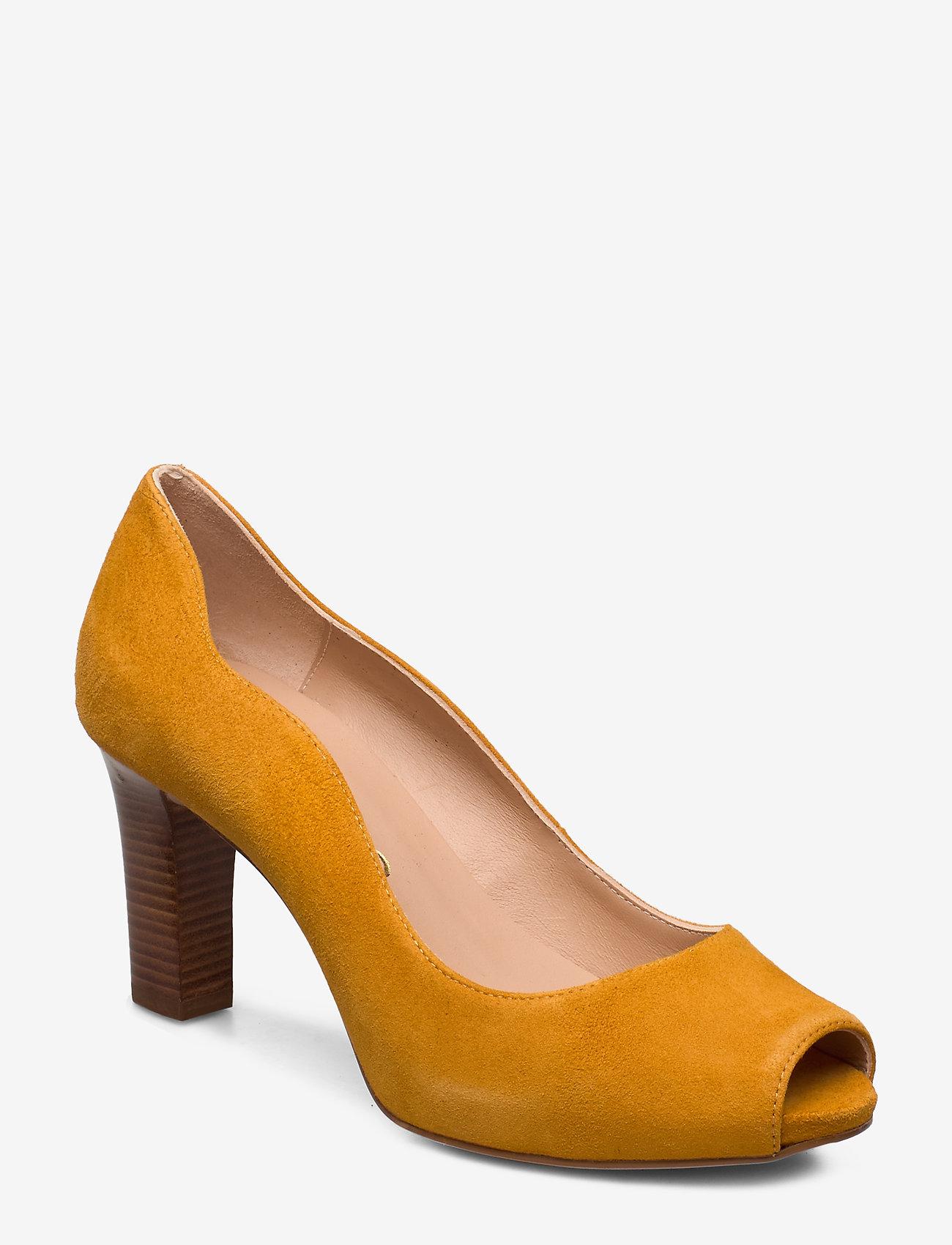 UNISA - NALO_KS - szpilki peep toe - mustard - 0