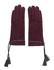 Felt glove w tassel - WINE