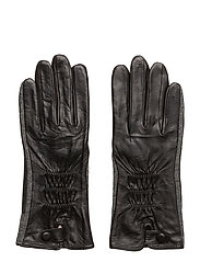 Leather and felt glove - BLACK/CHARCOAL