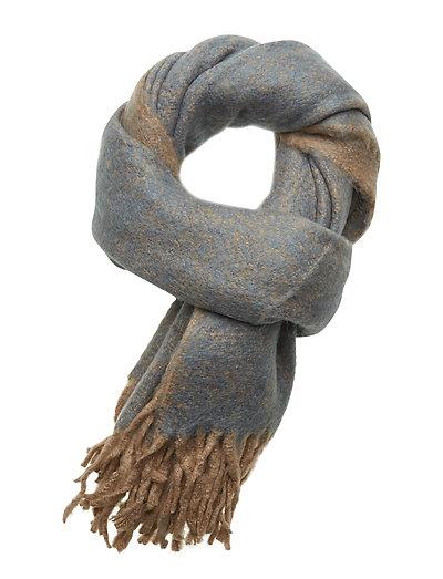 Melange furry scarf - DENIM BLUE