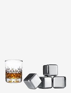 Whiskey Stones - 4-PACK - isbiter og isbrett - silver