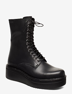 TARA - flade ankelstøvler - black