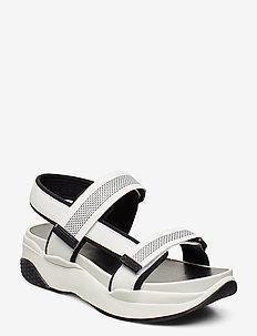 LORI - sandały na obcasie - white /black