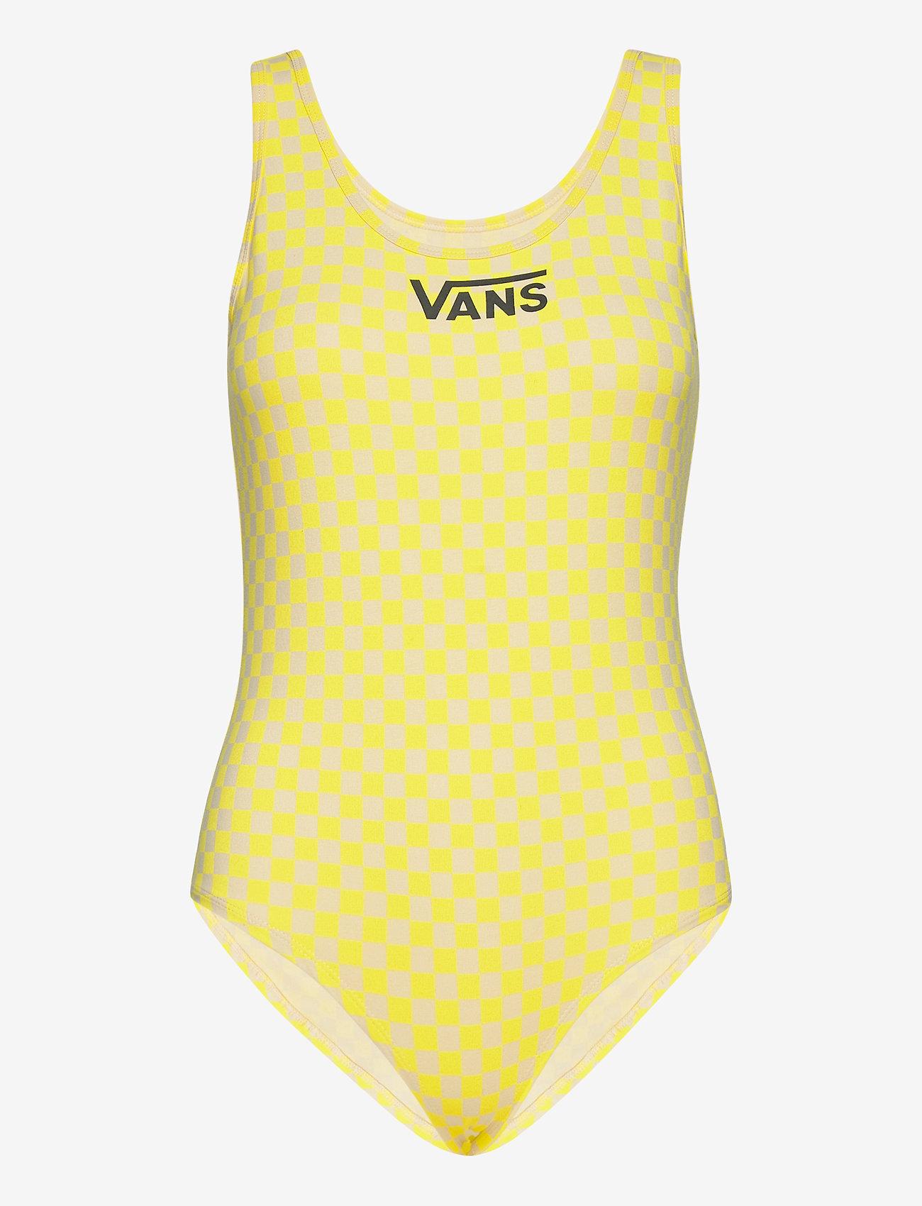 VANS - QUANTUM BODYSUIT - sportsbadetøy - lemon tonic checkerboard - 0