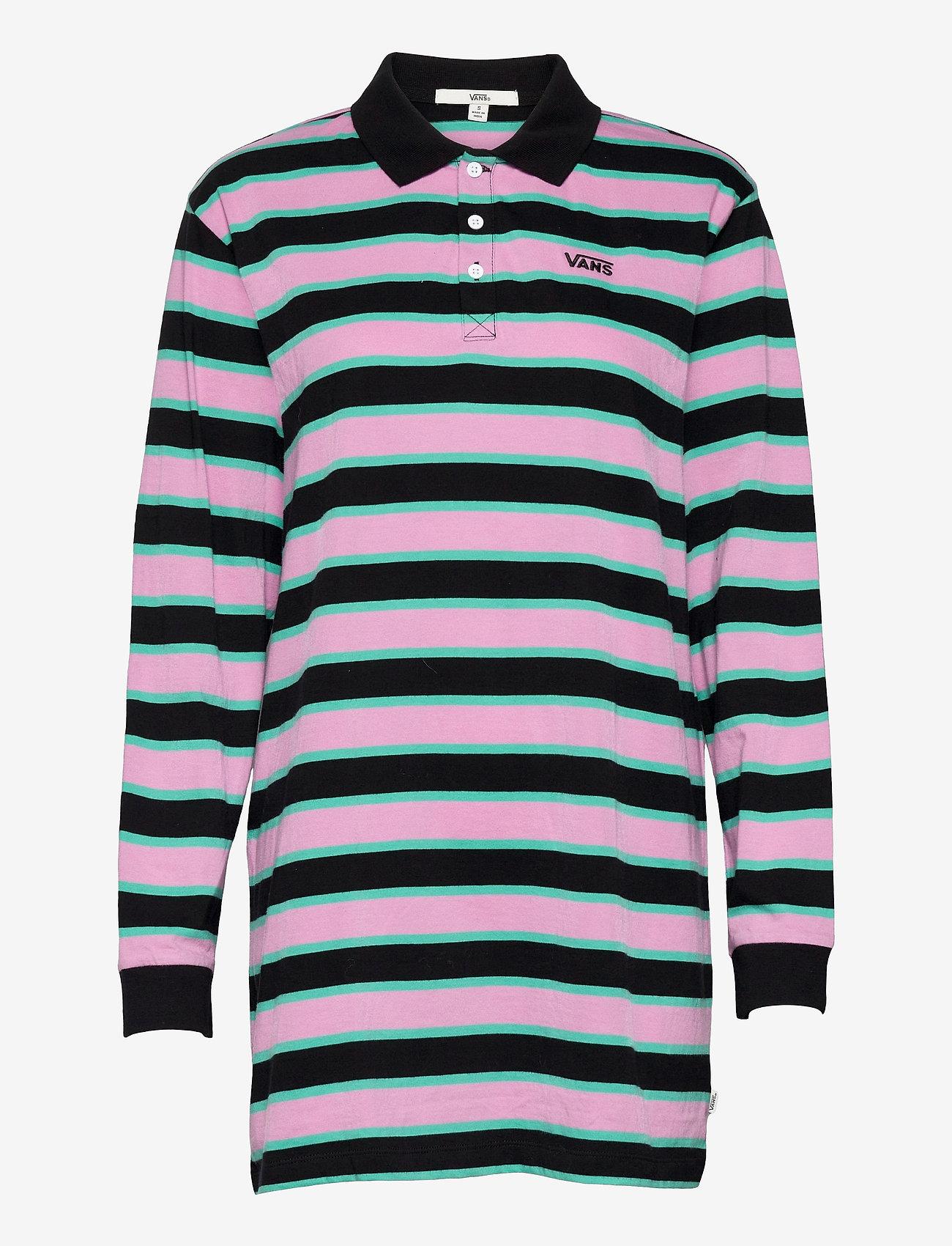 VANS - STRIPE POLO DRESS - tshirt jurken - black - 0