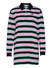 STRIPE POLO DRESS - BLACK