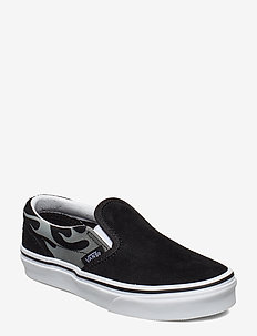 UY Classic Slip-On - (SUEDE FLAME) BLK/TR WHT