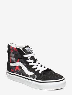 UY SK8-Hi Zip - (CAMO) BLACK/RACING RED
