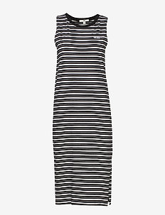 MINI CHECK MIDI DRESS - BLACK
