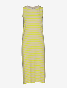 MINI CHECK MIDI DRESS - LEMON TONIC