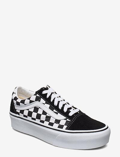 UA Old Skool Platform - lage sneakers - (checkerboard) blk/tr wht