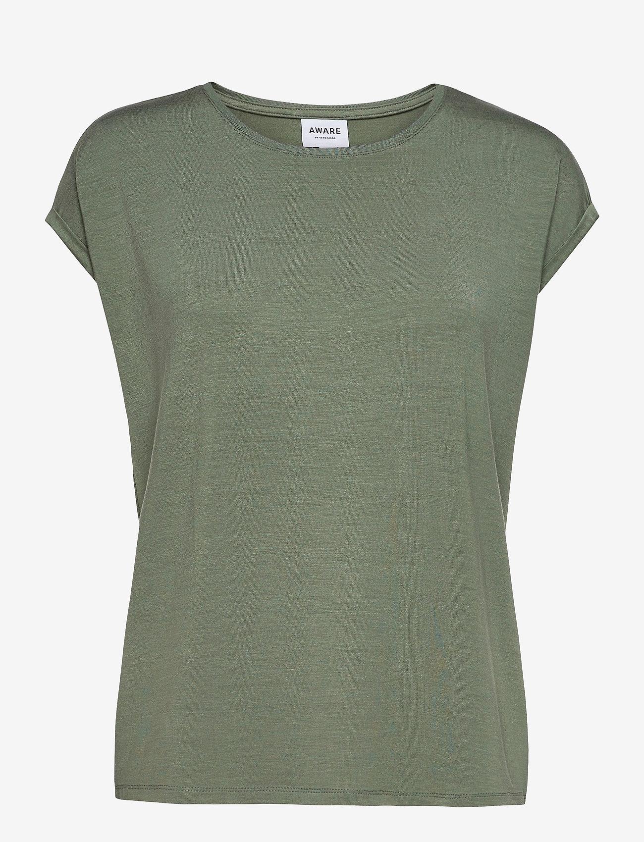 Vero Moda - VMAVA PLAIN SS TOP GA - t-shirts - laurel wreath - 0
