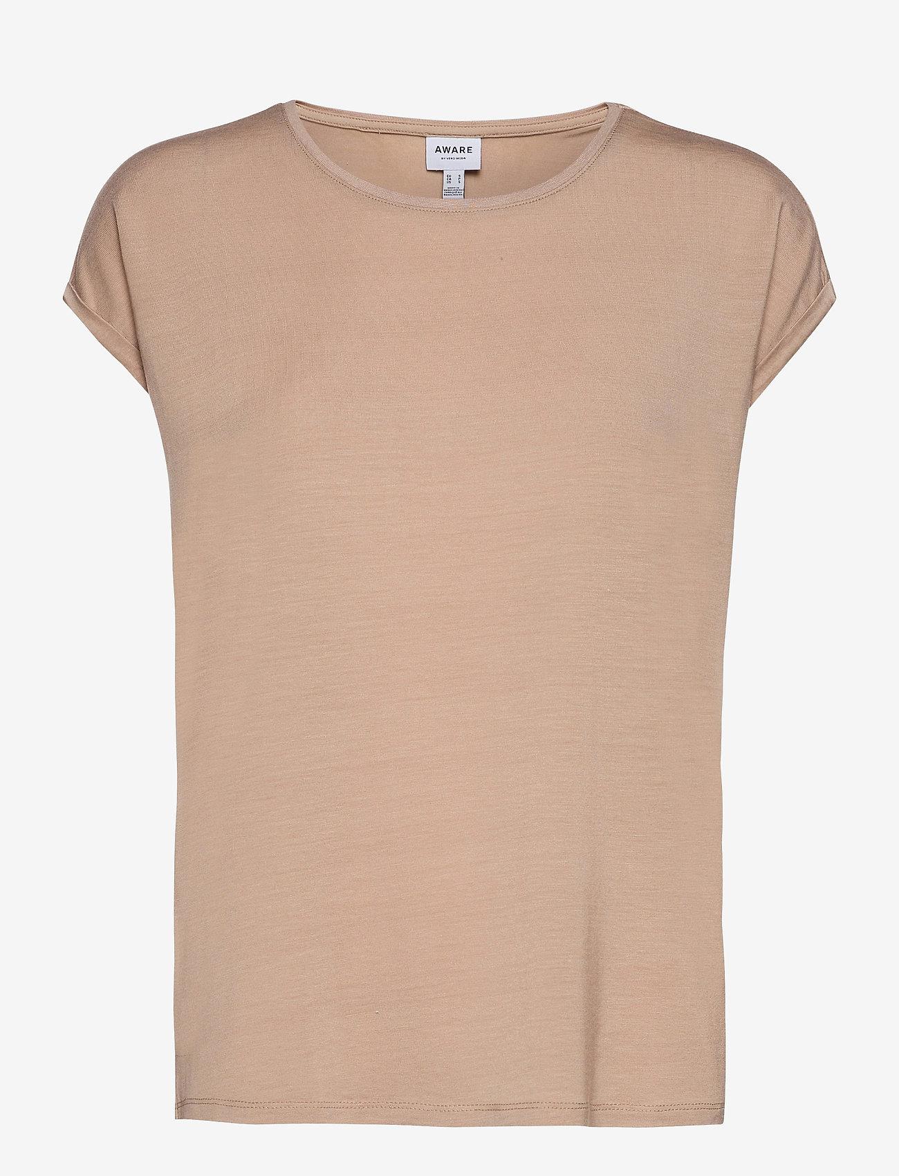 Vero Moda - VMAVA PLAIN SS TOP GA - t-shirts - nomad - 0