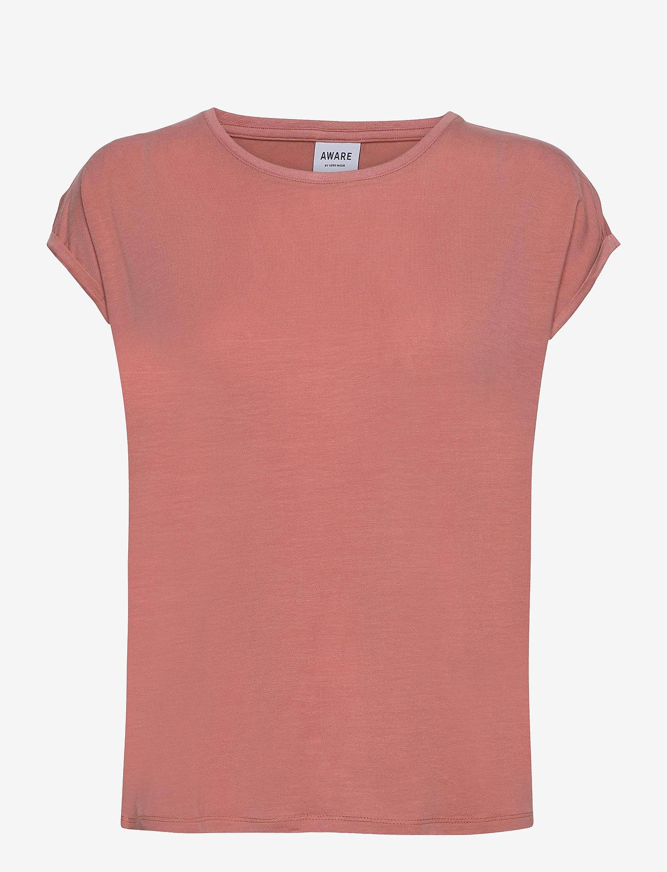 Vero Moda - VMAVA PLAIN SS TOP GA - t-shirts - old rose - 0